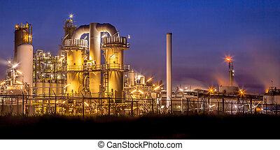 lourd, industriel, présentation, usine, chimique, nuit, paysage