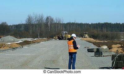 lourd, information, roadbed, construisant matériel, écrit, matériel, pose, trottoir, arpenteur, chef, construction, route, pendant, inspecte, ou, étape, avant