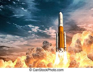 lourd, lancement, nuageux, fusée, ciel, fond
