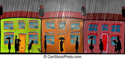 lourd, lustré, pluie, dessin