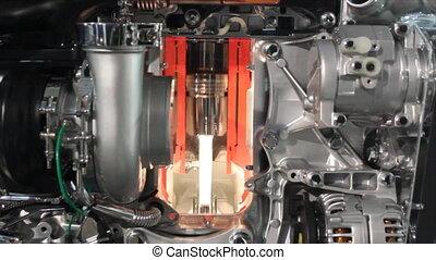lourd, moteur, camion, détail