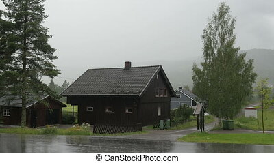 "lourd, norway"", oslo, pluie, village, ""nordic"
