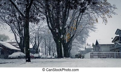 lourd, passé, en mouvement, chute neige, maisons