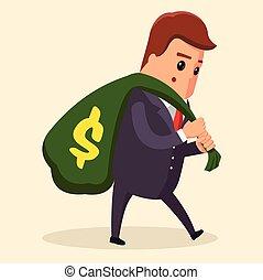 lourd, plat, sien, illustration affaires, argent, concept., dos, vecteur, complet, sac, directeur, porter, grand, homme affaires, ou, homme
