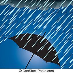 lourd, protection, parapluie, pluie