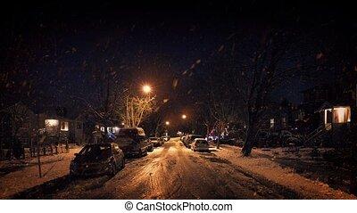 lourd, résidentiel, nuit, chute neige, secteur