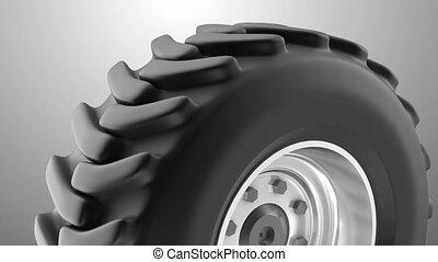 lourd, roue, tracteur, boucle