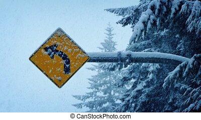 lourd, route, chute neige, signe