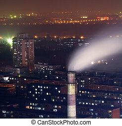 lourd, secteur, photo, scène, brouillard, fumée, nuit, habitants, cheminée