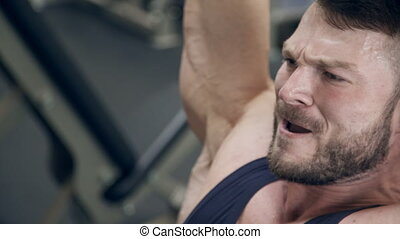 lourd, tête, sur, gym., ascenseurs, poids, homme fort