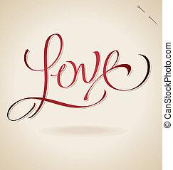'love', lettrage, (vector), main
