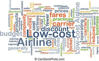 low-cost, concept, ligne aérienne, fond