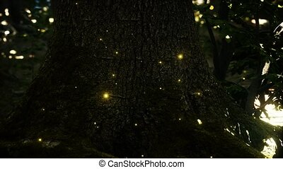 luciole, magique, forêt, fantasme, lumières