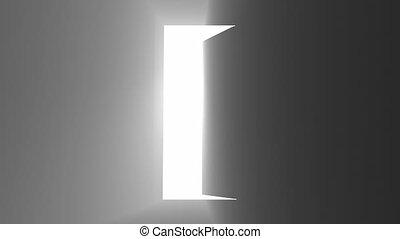 lueur, accueil, lumières, effet, porte, lumière, porte ouverte, noir, concept