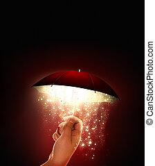 lueur, parapluie, magique