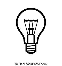 lumière, arrière-plan., vecteur, ampoule, blanc, icône