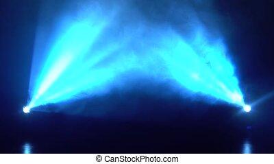 lumière bleue, concert, fumée