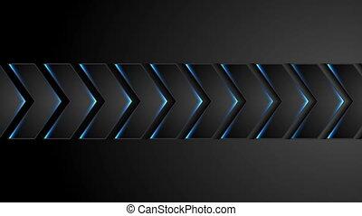 lumière bleue, flèches, animation, noir, vidéo, technologie, néon