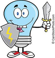 lumière bleue, guarder, épée, ampoule