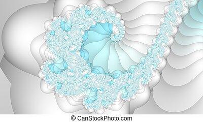 lumière bleue, spirale, fond, blanc, fractal