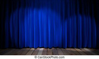 lumière bleue, tissu, boucle, rideau