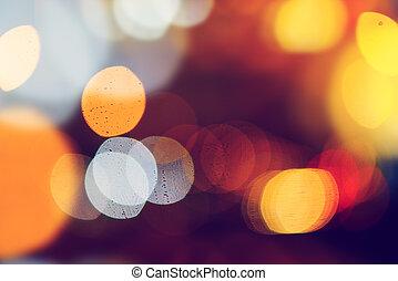 lumière, bokeh, rue
