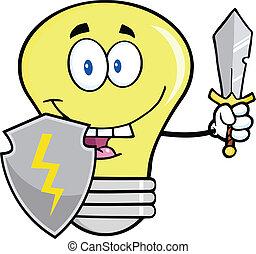 lumière, bouclier, épée, ampoule