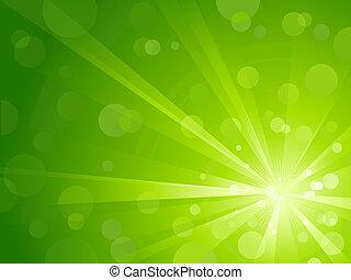 lumière, brillant, vert, éclater