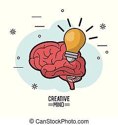 lumière colorée, esprit, créatif, cerveau, affiche, ampoule
