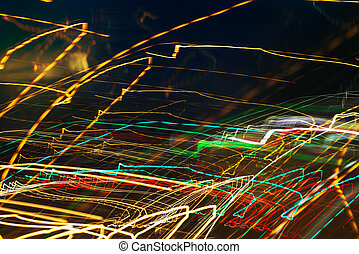 lumière colorée, résumé, long, rue, fond, exposition