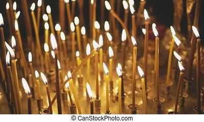 lumière, cresset, bougie, church., métal