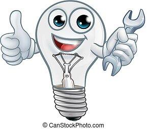 lumière, dessin animé, ampoule, mascotte, lightbulb, caractère