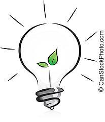 lumière, eco-amical, ampoule, plant