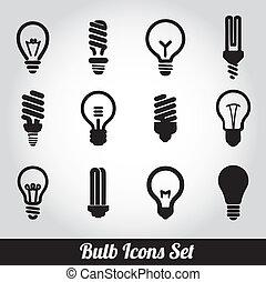 lumière, ensemble, bulbs., ampoule, icône