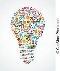 lumière, eps10, icônes, média, idée, isolé, social, ampoule, file.