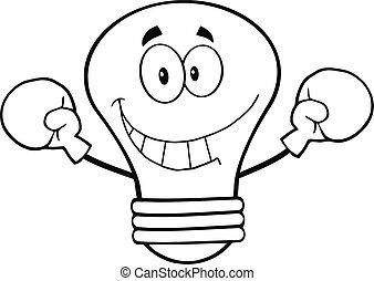 lumière, esquissé, boxeur, ampoule