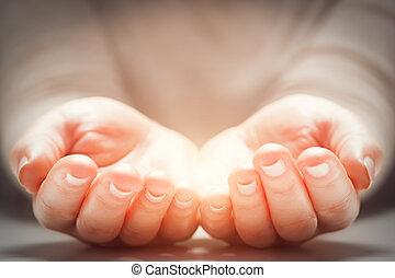lumière, femme, mains