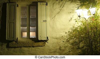 lumière, fenêtre, rue, retro, nuit