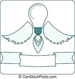 lumière, flame., ailes, ange, ampoule