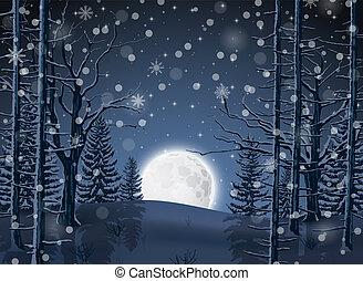 lumière, forêt, paysage hiver, lune