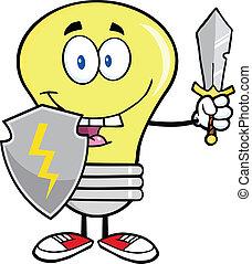 lumière, guarder, épée, ampoule