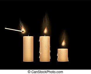 lumière, haut, allumette, bougie