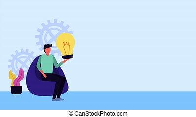 lumière, homme affaires, idées, ampoule, créatif