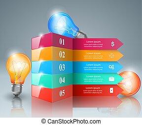 lumière, icon., infographic, ampoule, design.
