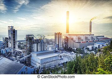 lumière, industrie, pétrochimique, lueur, sunset.
