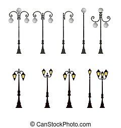 lumière, lampe, poteau, rue, réverbère, poste, route