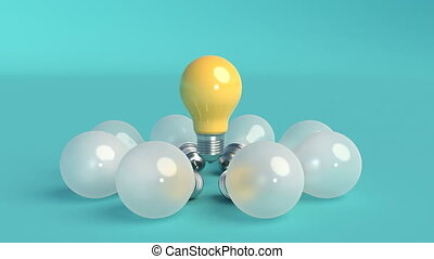 lumière, mouvement, conception, lights., minimal, idée, minimalistic, 3d, concept., couverture, ampoule, design., métrage, remarquable, créatif