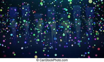 lumière, musique, gens, compensateur, taches, contre, danse, sur, silhouette