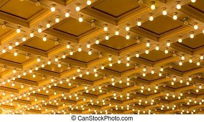 lumière, plafond, concert, clignotant, salle