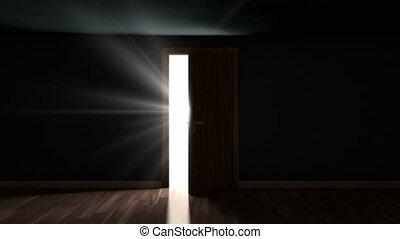 lumière, porte, par, ouverture